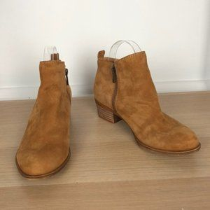 LUCKY BRAND tan leather zip side booties size 7.5